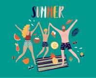 De illustratie van het de zomerpop-art met gelukkige familie Royalty-vrije Stock Fotografie