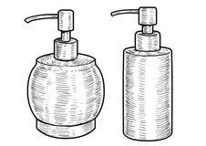 De illustratie van de hygiënefles, tekening, gravure, inkt, lijnkunst, vector Royalty-vrije Stock Fotografie