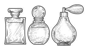 De illustratie van de hygiënefles, tekening, gravure, inkt, lijnkunst, vectorPerfume flessenillustratie, tekening, gravure, inkt, Stock Foto's