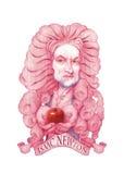 De illustratie van Isaac Newton Caricature Stock Afbeeldingen