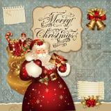 De illustratie van Kerstmis met de Kerstman Stock Afbeeldingen