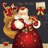 De illustratie van Kerstmis met de Kerstman Royalty-vrije Stock Afbeeldingen