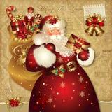 De illustratie van Kerstmis met de Kerstman Royalty-vrije Stock Afbeelding