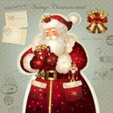 De illustratie van Kerstmis met de Kerstman Royalty-vrije Stock Foto