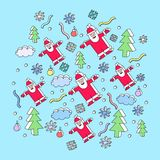 De illustratie van Kerstmis met de Kerstman Stock Foto's