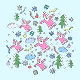 De illustratie van Kerstmis met de Kerstman Stock Afbeelding