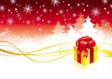 De illustratie van Kerstmis met gift Royalty-vrije Stock Afbeeldingen