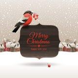 De illustratie van Kerstmis met goudvink Stock Afbeeldingen