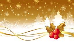 De illustratie van Kerstmis met hulstbessen