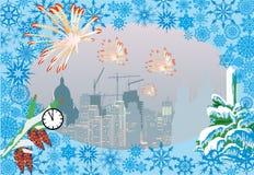 De illustratie van Kerstmis van de stad en van het vuurwerk Royalty-vrije Stock Fotografie
