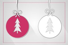De illustratie van de Kerstmisbal van document voor groet wordt gemaakt die Stock Afbeelding