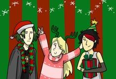 De illustratie van de Kerstmismanier voor prentbriefkaar royalty-vrije illustratie