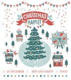 De illustratie van de Kerstmismarkt Stock Fotografie