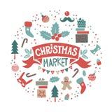 De illustratie van de Kerstmismarkt royalty-vrije stock foto