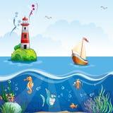 De illustratie van kinderen met vuurtoren en zeilboot Op de zeebodem, en grappige vissen vector illustratie