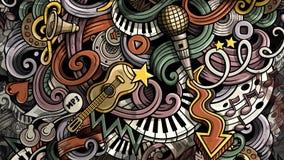 De illustratie van de krabbelsmuziek Creatieve muzikale achtergrond Royalty-vrije Stock Afbeeldingen