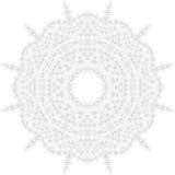 De Illustratie van Mandala Cirkel ingewikkeld patroon Het ontwerpmalplaatje van de kantcirkel Abstracte geometrische monolijnacht Stock Afbeeldingen
