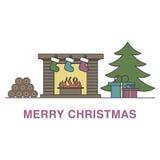 De illustratie van Meerykerstmis met open haard, Kerstmisboom en vector illustratie
