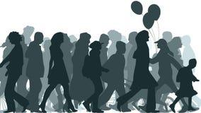 De illustratie van menigte bewoog onbekende mensen. Royalty-vrije Stock Afbeeldingen