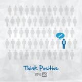 De illustratie van mensenpictogrammen, denkt positief Stock Afbeelding