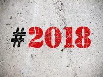 De illustratie van nieuwjaar 2018 hashtag Stock Afbeeldingen