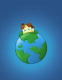De illustratie van onroerende goederen - huis op de planeet stock illustratie