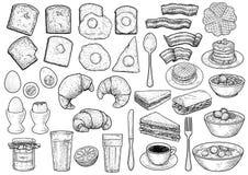 De illustratie van de ontbijtinzameling, tekening, gravure, inkt, lijnkunst, vector royalty-vrije stock foto's