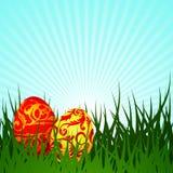 De illustratie van Pasen met twee geschilderd ei Stock Foto