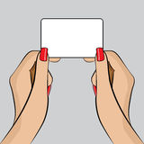 De Illustratie van PopArt van een hand met een Adreskaartje Royalty-vrije Stock Foto