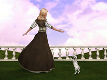 De Illustratie van prinsesplaying with puppy Stock Foto