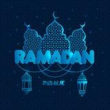De illustratie van de Ramadangroet met silhouet van moskee op donkerblauw Creatief ontwerpconcept voor moslimvakantie vector illustratie