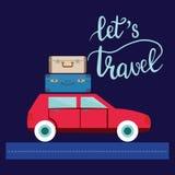 De illustratie van de reisauto met bagage en het van letters voorzien laten s-reis vector illustratie