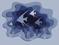 De illustratie van schuint mooie vissen af Royalty-vrije Stock Afbeelding
