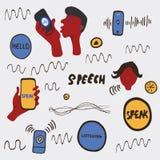 De illustratie van de spraakherkenningkrabbel stock illustratie