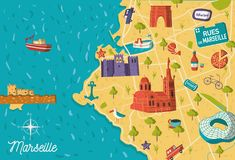 De illustratie van de de stadskaart van Frankrijk Marseille stock illustratie