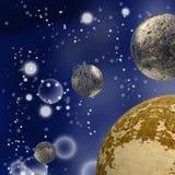 De illustratie van verschillende planeten in kosmische ruimte, sluit omhoog vector illustratie