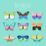 De illustratie van de vlinderinzameling De lentevlinders op witte achtergrond met gekleurde vleugels worden geïsoleerd die royalty-vrije illustratie