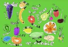 De illustratie van vruchten en van groenten Royalty-vrije Stock Afbeelding
