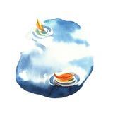 De illustratie van de waterverf de rode rubberlaarzen status Stock Foto's
