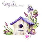 De illustratie van de waterverf Vogelhuis met hyacintzaailingen en markering Rustieke voorwerpen De lenteinzameling in violette s Stock Fotografie
