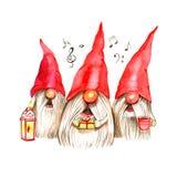 De illustratie van waterverfkerstmis met trio zingende dwergen Het trekken en modellering van plasticine De winterontwerp Vrolijk royalty-vrije illustratie