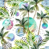 De illustratie van de waterverfkunst: palm, krabbel, grunge texturen, geometrische, minimale elementen vector illustratie