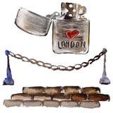De illustratie van waterverflonden De getrokken symbolen van Groot-Brittannië hand Royalty-vrije Stock Foto