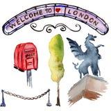De illustratie van waterverflonden De getrokken symbolen van Groot-Brittannië hand Stock Foto