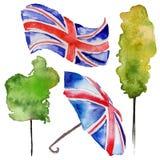 De illustratie van waterverflonden De getrokken symbolen van Groot-Brittannië hand Royalty-vrije Stock Afbeelding