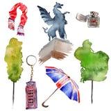 De illustratie van waterverflonden De getrokken symbolen van Groot-Brittannië hand Stock Afbeelding
