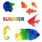 De illustratie van de waterverfzomer Reeks met de hand geschilderde regenboogvissen vector illustratie