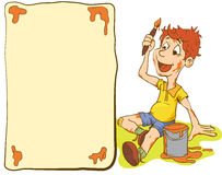 De illustratie van Weinig Jong geitjejongen schildert een Prentbriefkaar stock illustratie