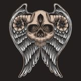 De illustratie van Wing Vector van de schedelhoorn vector illustratie