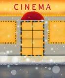 De illustratie van de de winterbioskoop Het warme kleuren digitale schilderen movie vector illustratie